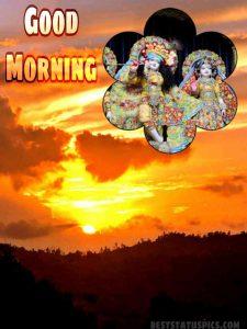 good morning image HD of lord krishna and radha for whatsapp dp