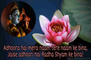 shree radhe krishna status image with lotus flower for whatsapp