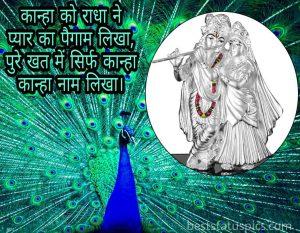 love radha krishna status image with peacock
