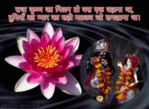 radha krishna status photo with lotus flower for whatsapp dp in hindi