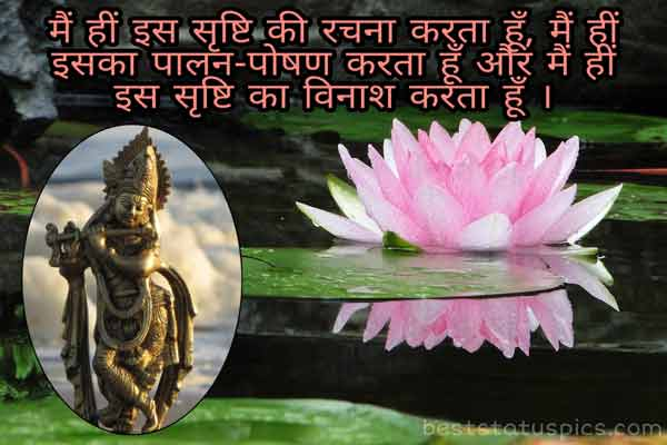 Jai shree krishna status image in hindi for Whatsapp DP with lotus flower