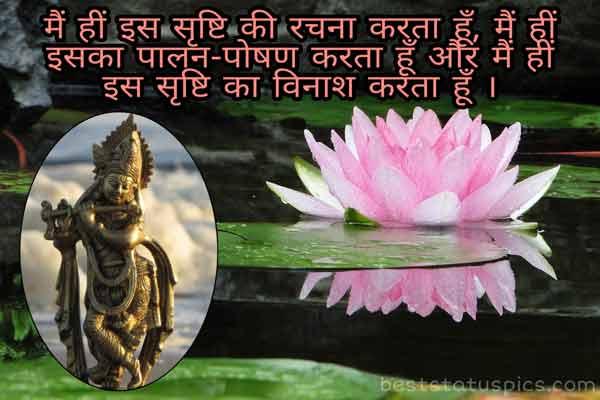 Jai shree krishna status image in hindi for Whatsapp DP with lotus flower