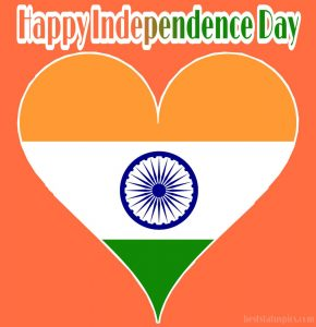 happy independence day 2020 wishes images with indian flag and heart