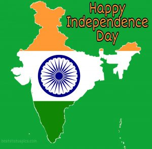 happy India independence day 2020 images with flag and map for Whatsapp status