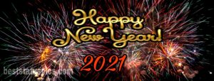 Cute happy new year 2021 picture with firework for facebook cover