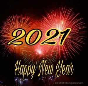 Beautiful happy new year 2021 wishes wallpaper HD and fireworks
