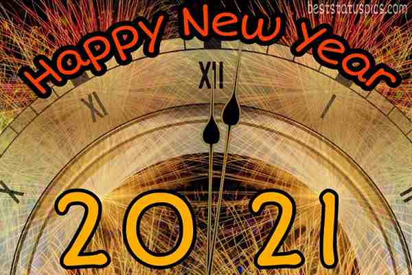 beautiful happy new year 2021 with clock for Whatsapp