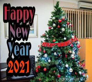 merry christmas and happy new year 2021 greetings to boss with Christmas tree