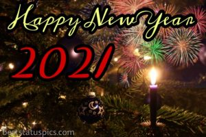 happy new year 2021 greetings with candle light and firework images HD