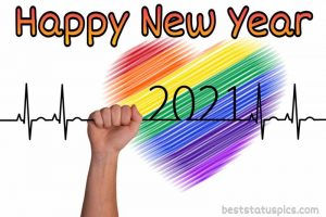 happy new year 2021 with love heartbeat image for whatsapp status