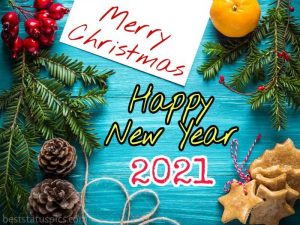 Beautiful merry christmas and happy new year 2021 wishes on card