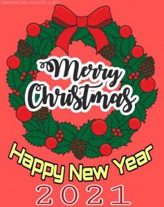 merry christmas and happy new year 2021 greeting cards with red banner