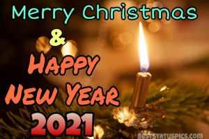 Cute merry christmas and happy new year 2021 wishes with candle for Whatsapp DP