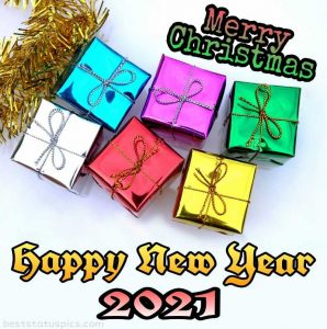 Best merry christmas and happy new year 2021 wishes pic with gift box for friends