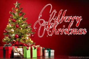merry christmas 2021 wishes for friends and family with gifts and xmas tree pic