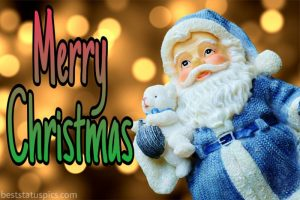 Cute merry christmas 2021 wishes picture with santa claus