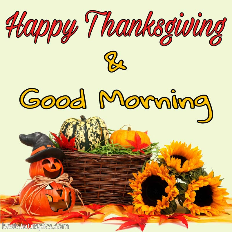 Happy thanksgiving Good morning 2021 pic with pumpkin and flower