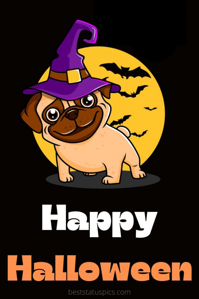 Happy Halloween 2021 wishes with cute dog