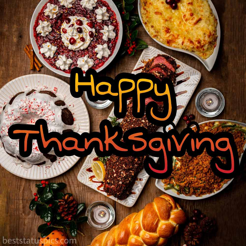 Happy Thanksgiving 2021 wishes Images with dinner