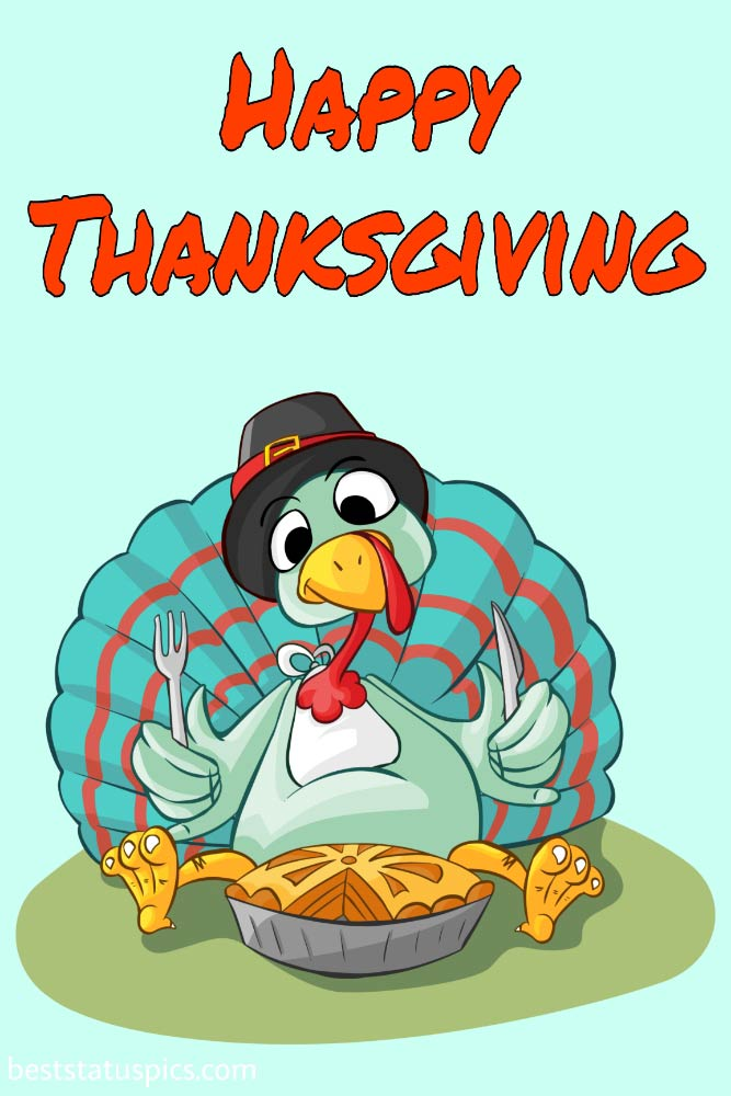 Happy Thanksgiving 2021 wishes image with turkey dinner