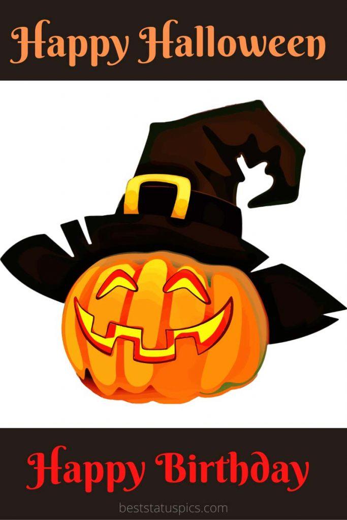 Happy Halloween and Happy birthday wishes ecard 2021
