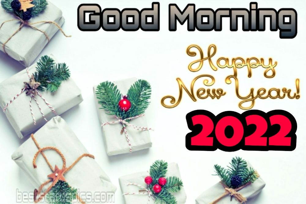 Cute Good Morning Happy New Year 2022 card and images with gifts
