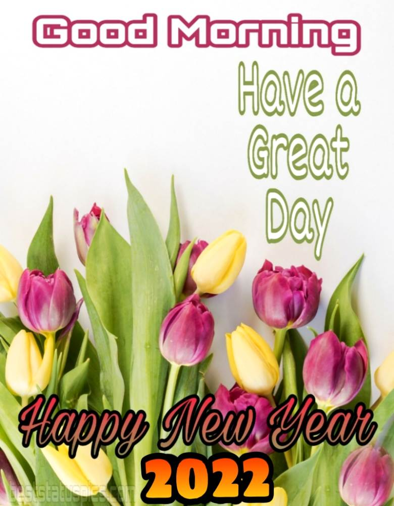 Happy New Year 2022 and Good Morning greeting have a great day quotes images