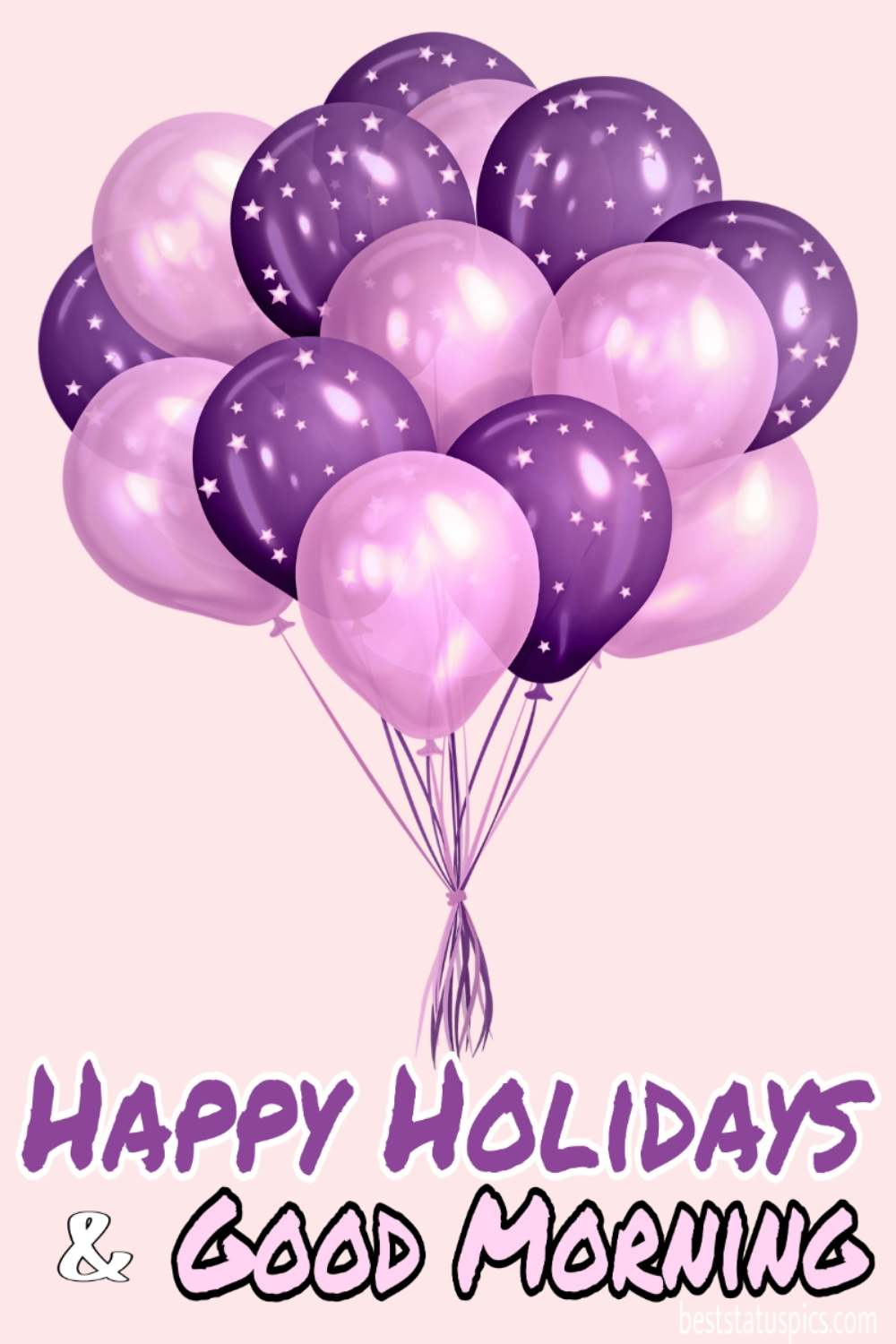 Happy holidays 2022 with morning greeting cards with balloons for friends and family