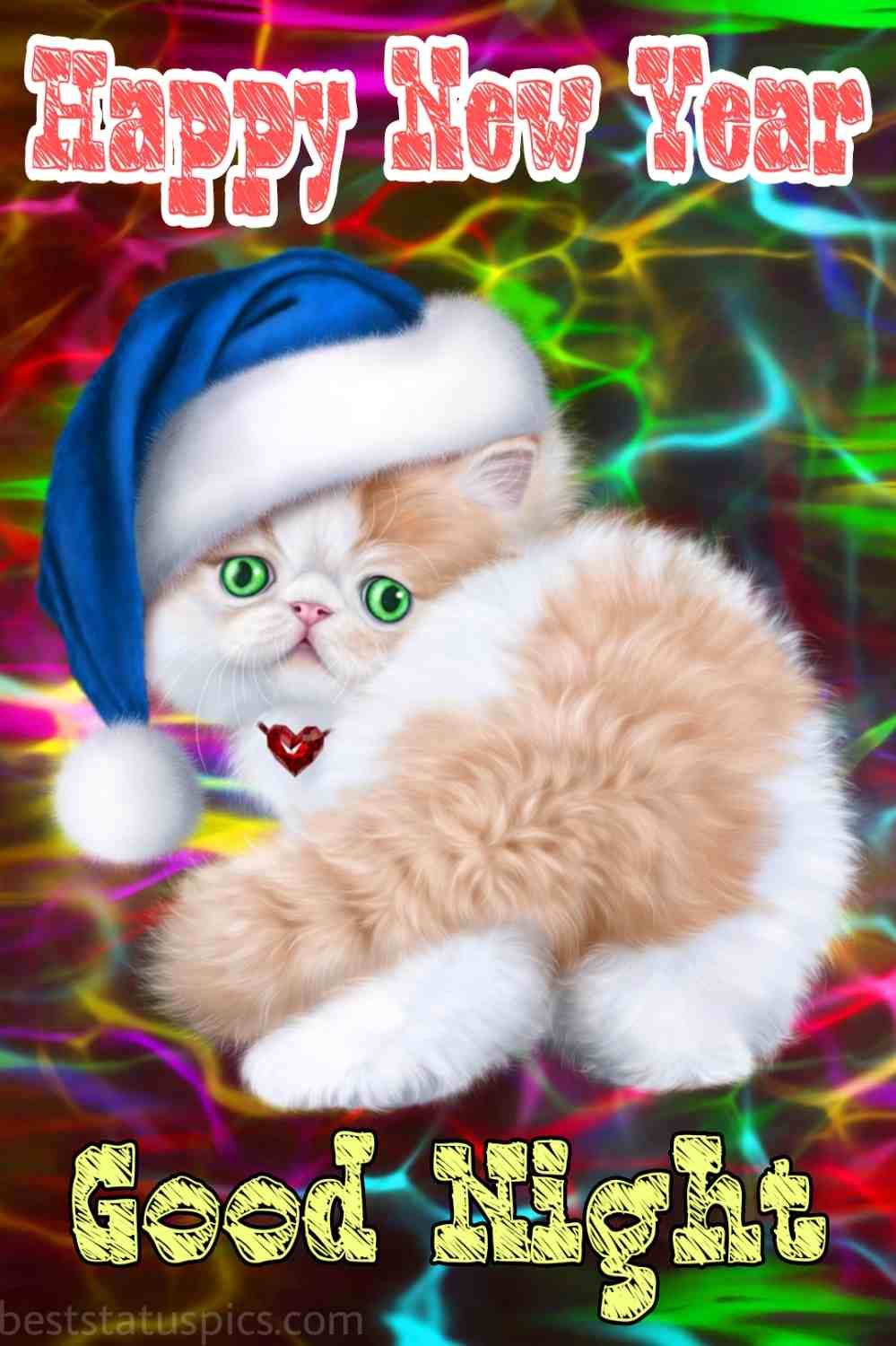 Happy new year 2022 and Good night HD images with a cat for girlfriend and love