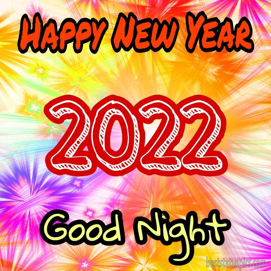 Beautiful Good night Happy new year 2022 greetings cards with colors