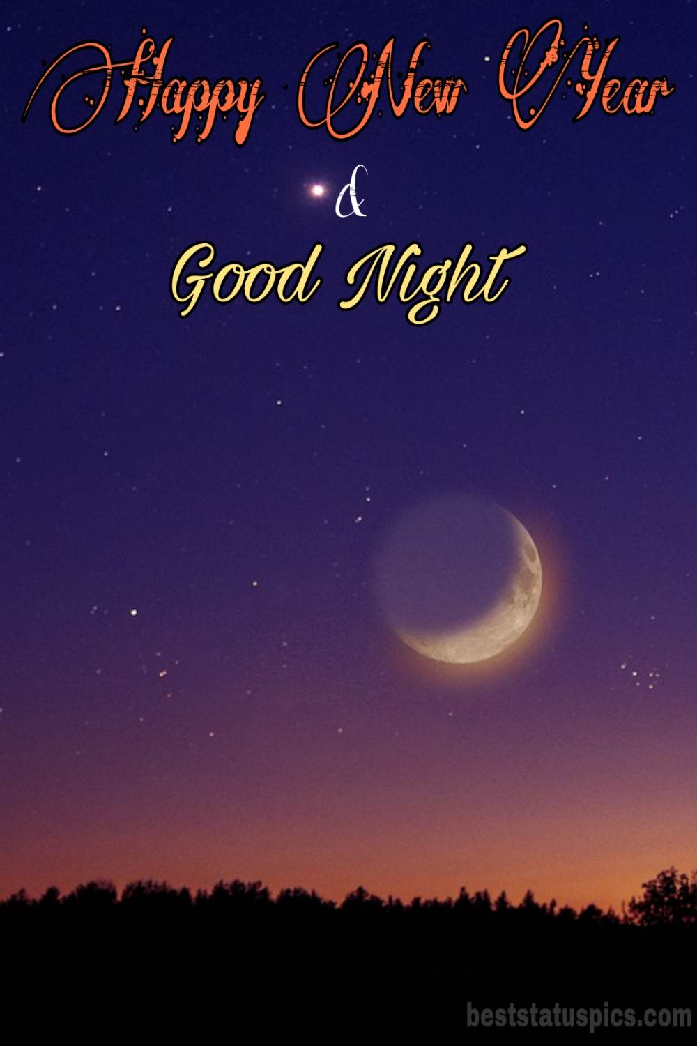 Happy new year 2022 and Good night HD images with moon and night sky for friends and lover