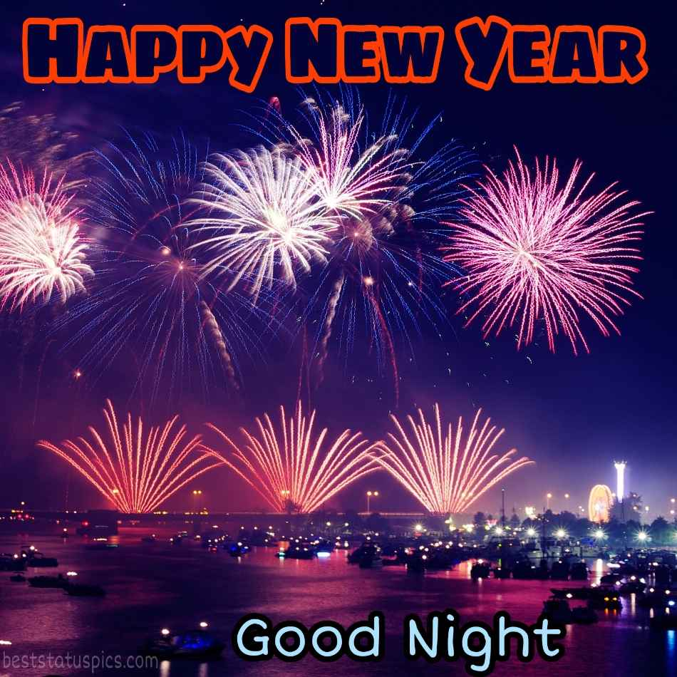 Happy new year 2022 and Good night HD picture with firework and city nightsky