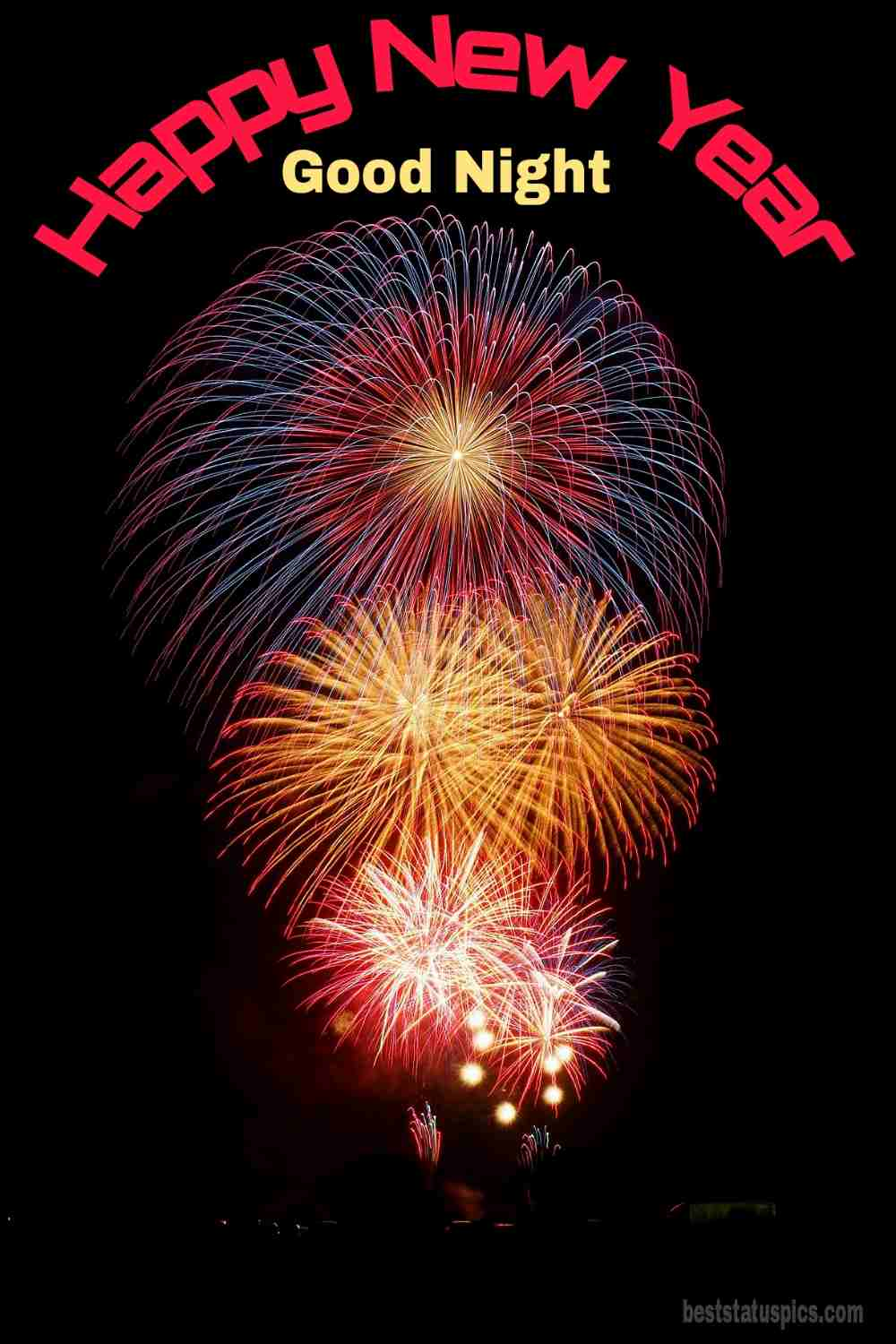 Happy new year 2022 and Good night HD photo with firework for Whatsapp status