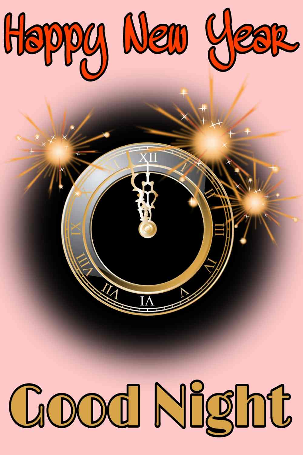 Good night Happy new year 2022 wishes images with clock and watch for Pinterest