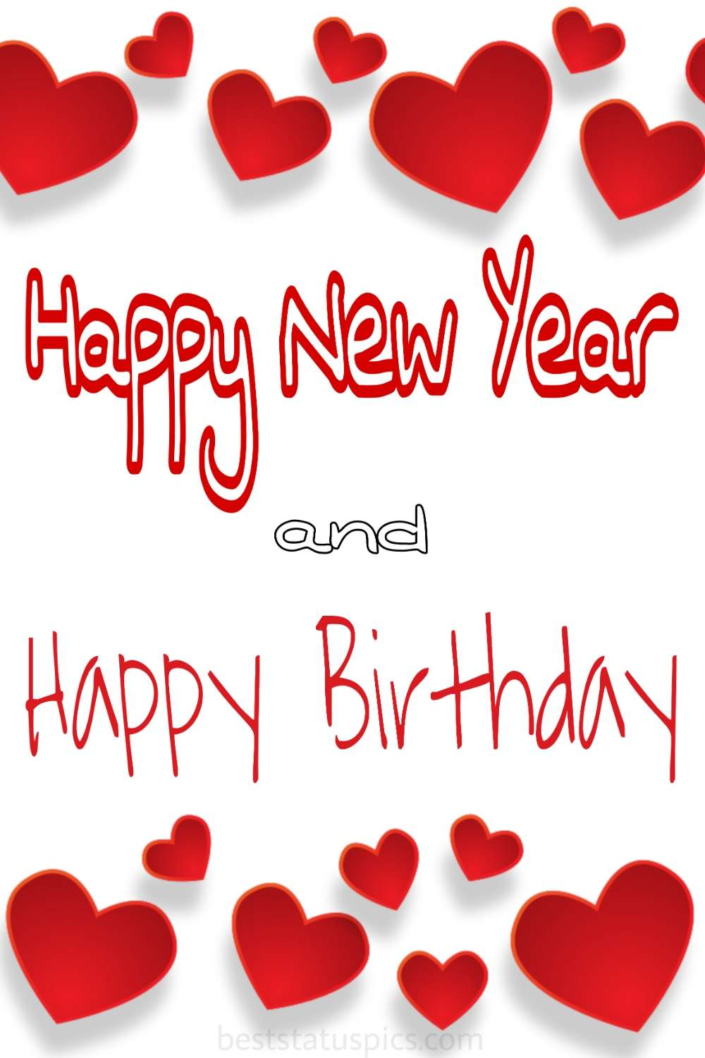 Happy new year 2022 and Happy Birthday greeting cards with love and heart for girlfriend, boyfriend, husband, wife and lover