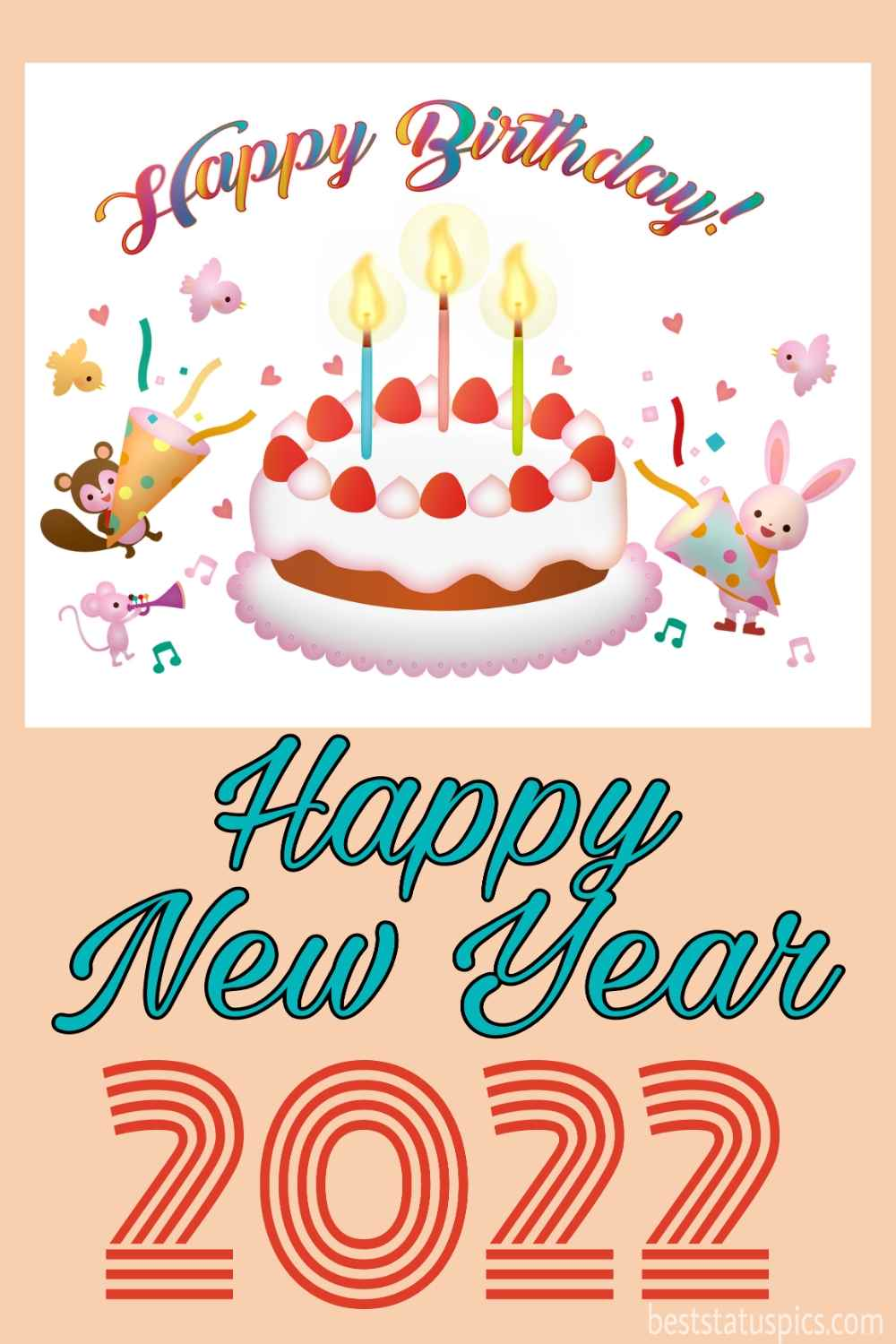 Happy Birthday and Happy new year 2022 greetings and ecards with cake, cherries and candles for friends, kids, sister and brother