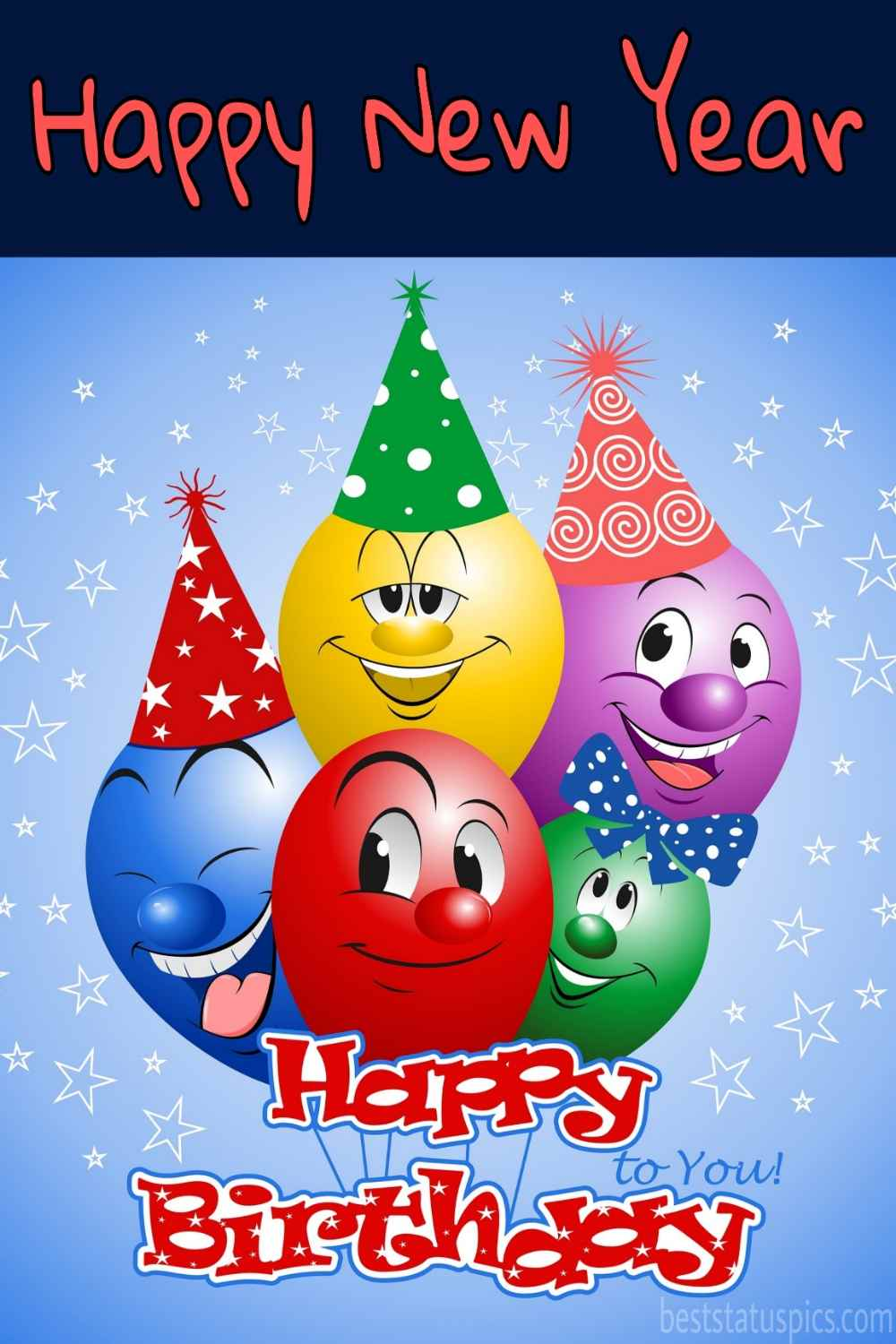 Happy Birthday and Happy new year 2022 wishes cards with funny balloons for friends, sister and brother