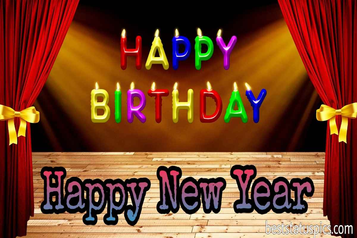 Happy Birthday and Happy new year 2022 wishes photo for facebook status