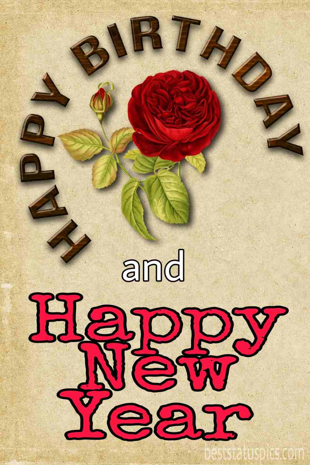 Happy new year 2022 and Happy Birthday wishes photo with rose for girlfriend, boyfriend, husband, wife and lover