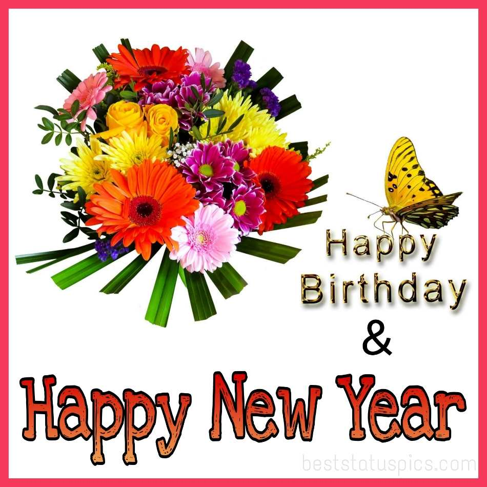Happy new year 2022 and Happy Birthday greeting cards with butterfly and flowers for girlfriend, boyfriend, husband, wife and lover