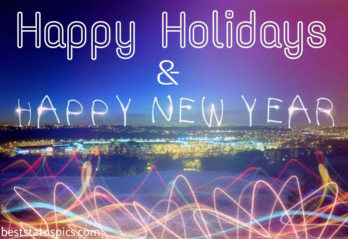 Happy Holidays and Happy New Year 2022 photo HD with fireworks