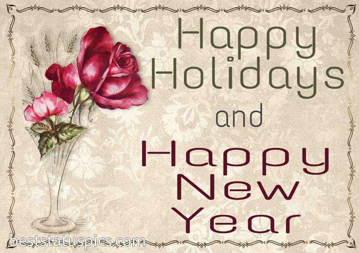 Happy New Year 2022 and Happy Holidays greeting cards with roses for girlfriend and lover