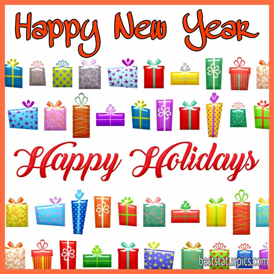 Happy New Year 2022 and Happy Holidays wishes picture with gift boxes for Whatsapp status