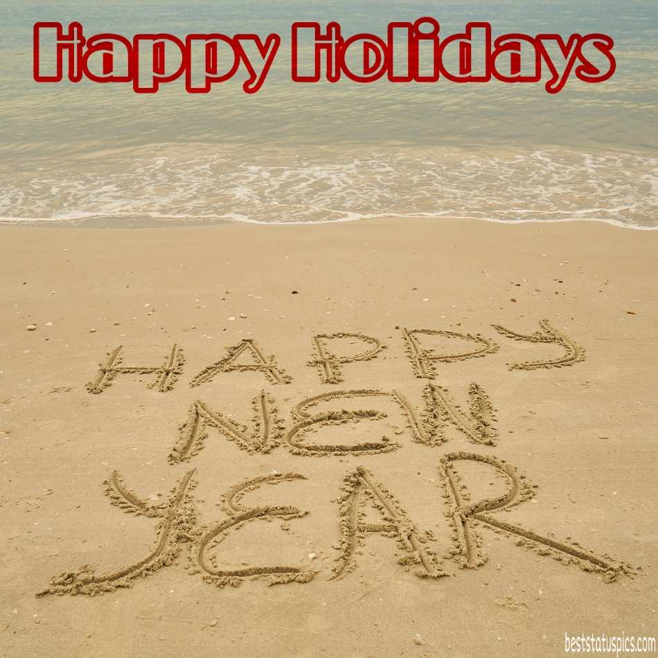 Happy Holiday Happys New Year 2022 wishes images with sea beach