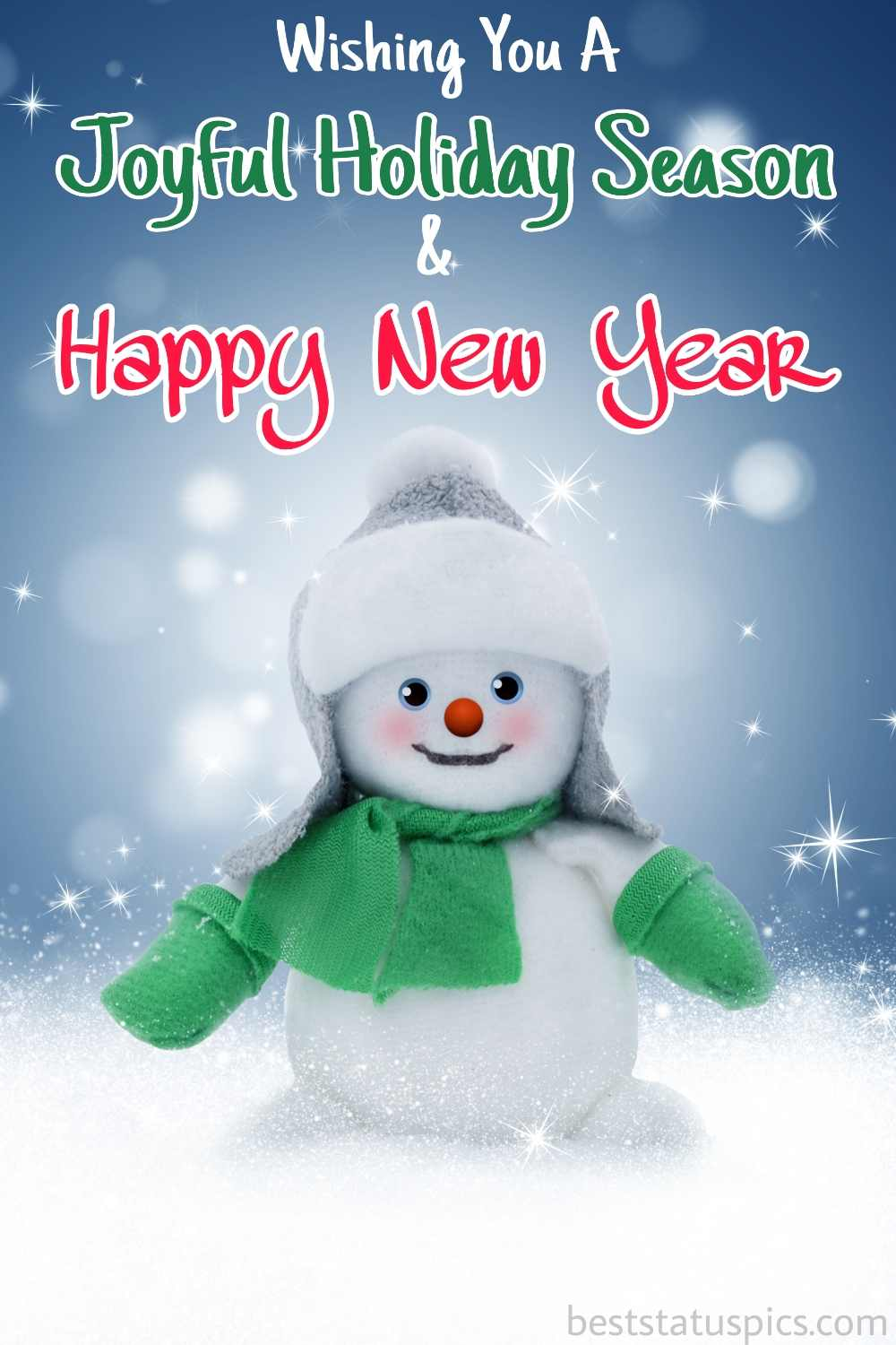 Happy Holidays and Happy New Year 2022 picture with snowman for Instagram story