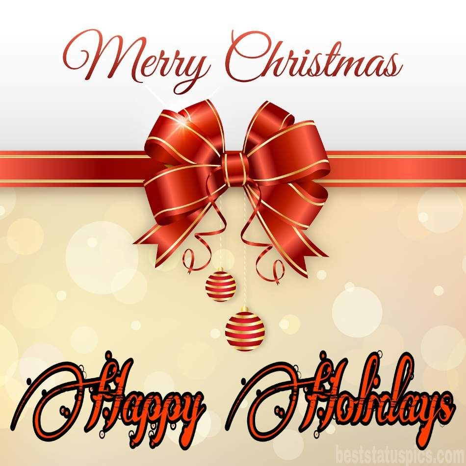 Cute Merry Christmas and Happy Holidays 2022 wishes with gift for love and friends