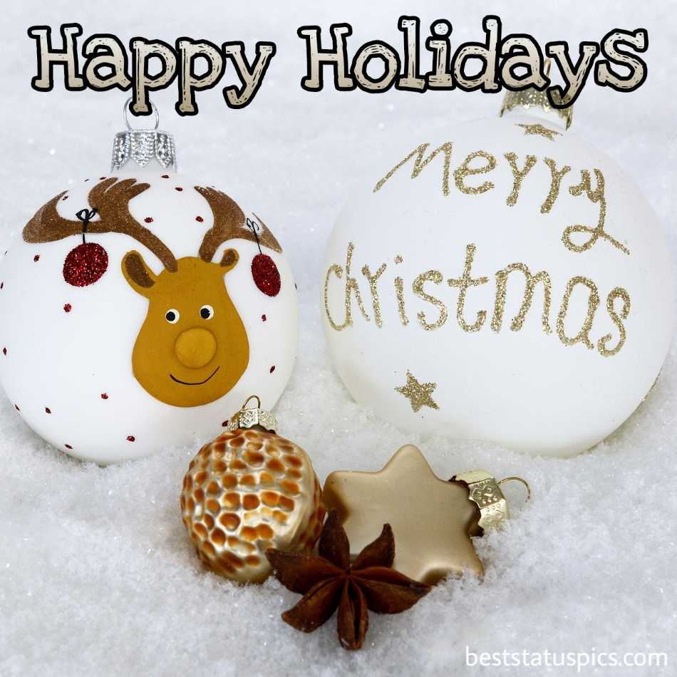 Merry Christmas eve and Happy holiday season 2022 wishes with deer and ball