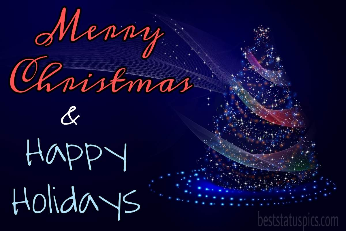 Happy Holidays Merry Christmas 2022 wishes images HD with xmas tree for Facebook status