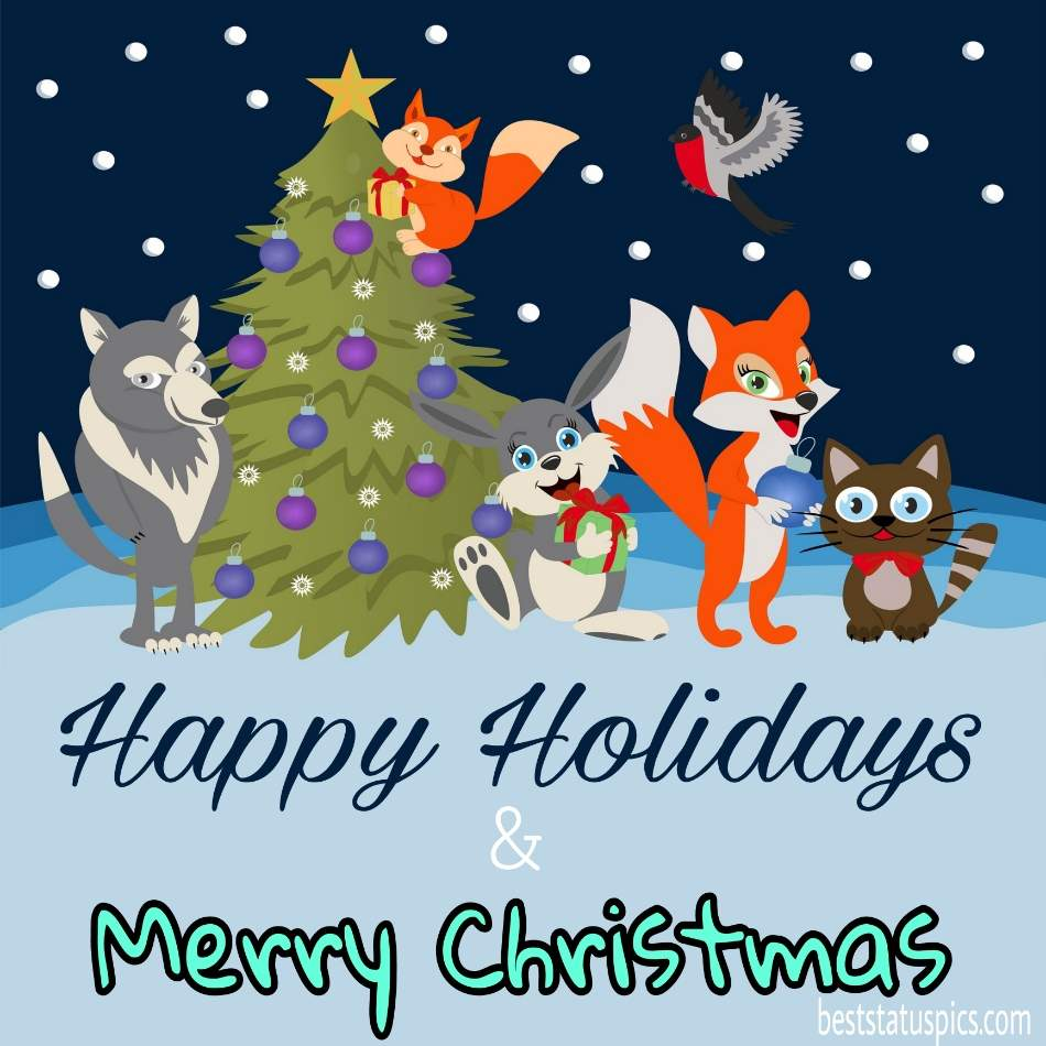 Happy Holidays Merry Christmas 2022 wishes picture HD with xmas tree for friends and family