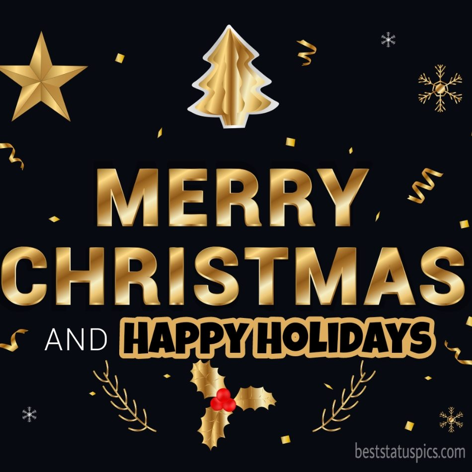 Beautiful Merry Christmas and Happy Holidays 2022 picture and card